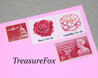 PINK Bouquet .. Unused Vintage US Postage Stamps .. Enough to mail 10 letters. Pink flowers, Hot pink stamps, Blush, Garden weddings, RSVPs