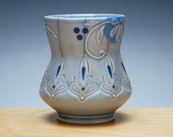 Yunomi in Periwinkle w. Floral & Blue dots and detail, Victorian modern, Handmade ceramic cup