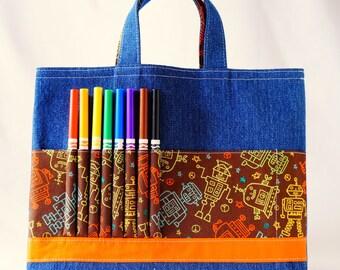 Crayon Tote • Crayon Bag • Coloring Bag • Art Tote • Crayon Holder • Crayon Roll • Ring Bearer • Busy Bag • Activity • ARTOTE • Mr. Roboto