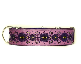 Wide 1 1/2 inch Adjustable Buckle or Martingale Dog Collar in Fancy Pants