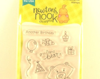 Newton's Nook Stamp Set, Winston's Birthday, Clear Stamps, Card Making Stamps, Bear, Birthday, Birthday Stamps, Belated Birthday Stamp set