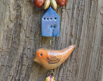 Boho Tassel Necklace, Pendant, Rustic Bird House Necklace, Artisan Polymer