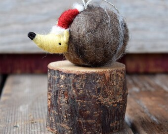 Hedgehog with a Santa Hat - Needle Felted Christmas Ornament