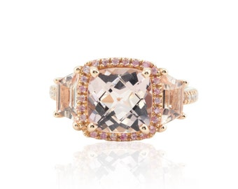 Morganite Engagement Ring - Three Stone Ring with Square Cushion cut Morganite and Peach Sapphire Halo in 14k Rose Gold - LS4664