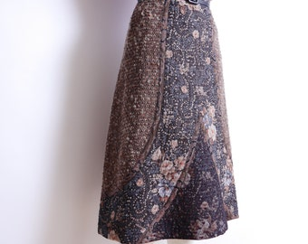 Vintage A Line Skirt Quilted Wool Lace Knee Length Midi Skirt M/L
