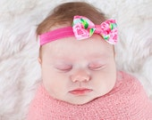 """Hotty Pink First Impression Tuxedo Bow Headband ~ 3"""" Hairbow ~ Baby Bow  Headband ~ Toddler Bow Headband ~ Infant Headband ~ Lilly Inspired"""