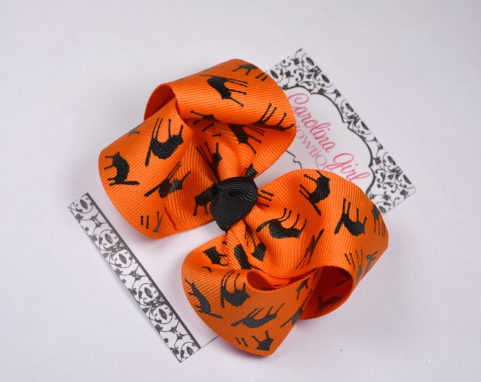 Halloween Cats Boutique Hair Bow ~ 4 in. Bow ~Big Hair Bows ~  Girl Hair Bows ~ Black and Orange Hair Bow ~ Halloween Bow