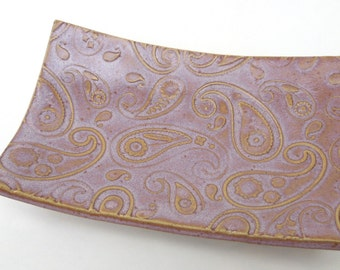 Sunset Pink Textured Paisley Handmade Ceramic Pottery Soap Dish Plate