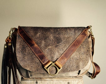 NEW STYLE//Pewter Grey and Weathered Brown Leather Satchel with Adjustable Messenger Strap