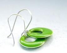 Enameled Earrings, Neon Jewelry, Circle Earrings, Geometric, Lime Green, Sterling Silver, Whimsical Earrings