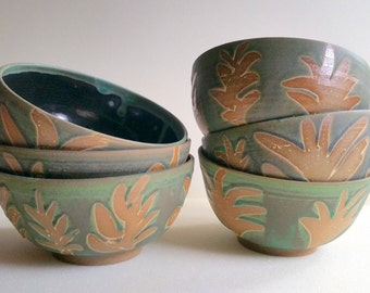 Green Wheel Thrown Pottery Bowls with Wax Resist Floral Decoration