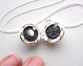 Tiny Oil Painting, Fly Me to the Moon, Silver-Plated Locket Pendant Necklace