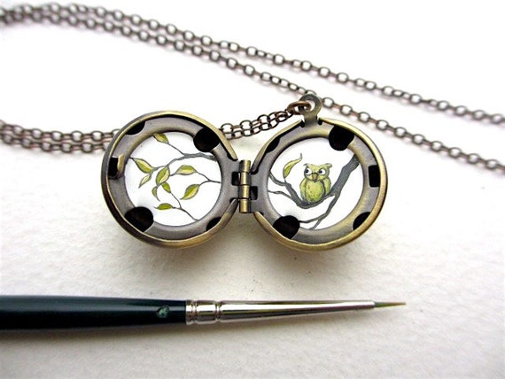 Tiny Owl Locket Painted in Oil Enamel, Miniature Spring Branches, Antique Bronze Patina