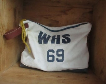Repurposed WHS 1969 Laundry bag into cosmetic Case travel storage zipper clutch bag Natural Rustic Canvas highschool sports bag diaper pouch