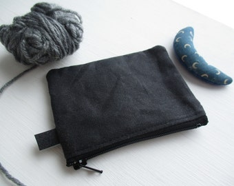 The Coin Collector a coin purse by may.tree.ark mini zipper change pouch minimalist Flea Market cash fund purse black waxed canvas