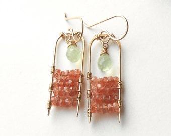 Sunstone Earrings, Beaded Gemstone Dangle Earrings, Gold Filled Boho Earrings, Bohemian Jewelry