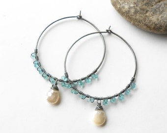 Gemstone Hoop Earrings, Oxidized Sterling Silver Hoops, Apatite and Moonstone
