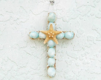 Shell Cross Ornament,Seashell Cross,Cross with Shells,Aqua Cross,Seashell Crucifix,Religious Christian Gift,Baby Gift,Turquoise and Tan