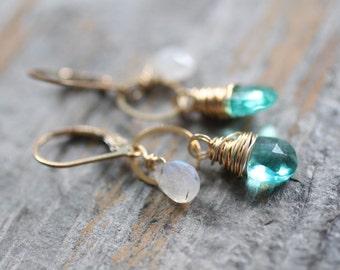 Short Gold Earrings. Apatite Quartz and Rainbow Moonstone Gemstone Earrings. Blue Green