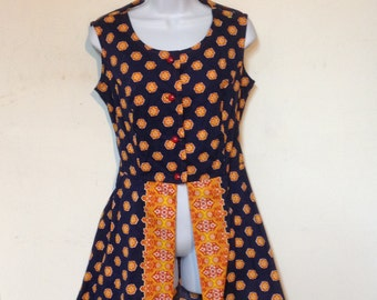 Mod Dress Romper Vintage 60s Playsuit Size 6 made in the USA