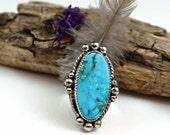 Turquoise SKY OVAL Cabochon Sterling Silver Ring, size 7, rustic, artisan, metalwork, handmade, Boho, Bohemian, Gypsy, Cowgirl
