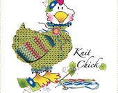 """Knit Chick - 6"""" Fabric Art Panel"""
