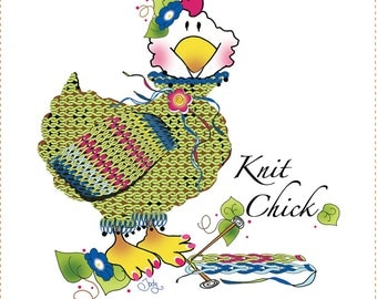 "Knit Chick - 6"" Fabric Art Panel"