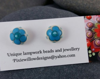 Itty bitty daisy lampwork surgical steel stud post earrings MTO
