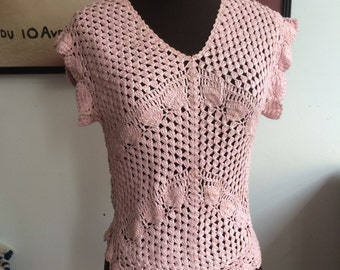 Vintage Pink Crochet Sweater, Cap Sleeves, Scalloped Edge Blouse