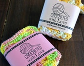 Printable PDF Crochet Dishcloth Label Wrappers - Crocheted with Love Yarn Ball 3 x 10 inch rectangle labels to wrap around handmade products