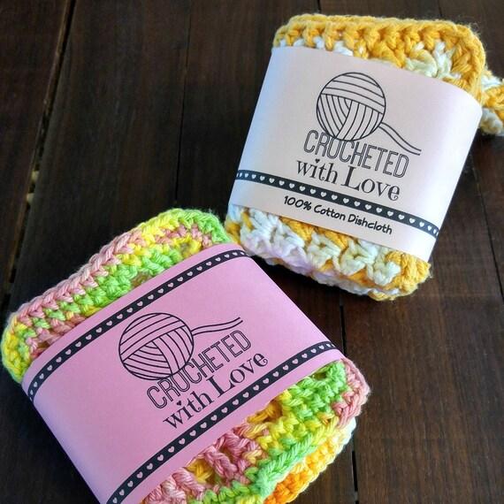 Printable PDF Crochet Dishcloth Label Wrappers