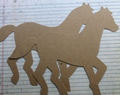 """2 Extra Large Bare/Unfinished chipboard die cut HORSE diecuts  9 1/16""""w x 7 9/16""""h"""