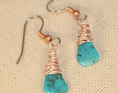 Turquoise Earrings Drops Natural Gemstone Mixed Metals Wire Wrapped December Birthstone
