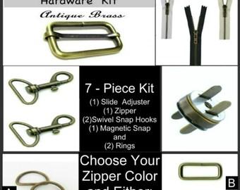 "1 SET - 1"" or 1 1/2"" - 7 Piece - ANTIQUE BRASS - Small Medium Handbag Hardware Kit - Slide, Rings, Swivel Hooks, Zipper and Magnetic Snap"