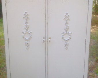 Shabby Chic Antique Armoire Wardrobe Painted Cottage White