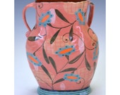 Vase. Salmony Pink with Leaf and Sunflower.