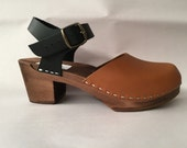 Two Tone Honey oiled and Black Medium heel Dalanna with buckled ankle strap