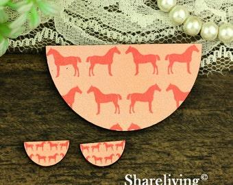 Pink Horse Semicircle Wood Charm, Wood Cut Cabochon, Wood Print Set - HWC854B