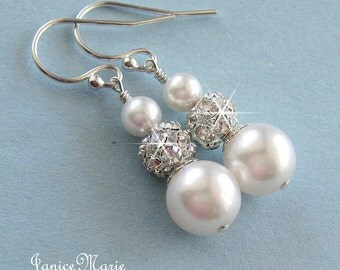 Bridesmaid Pearl Earrings, Rhinestone Fire Ball and Pearl Drop Earrings, White or Ivory, Crystal and Pearl Bridal Jewelry, Wedding Jewelry