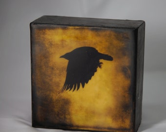 Gold Black Crow Encaustic Photograph on Wood Panel--Black Crow Flying--4x4 Fine Art