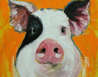 Pig painting 241 12x12 inch original oil painting by Roz