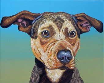 Your Pet Dog Custom Portrait Acrylic Gouache on Canvas-8 x 8 -Carla Smale