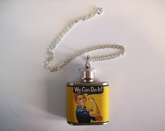Rosie the Riveter necklace flask retro vintage pin up girl propaganda kitsch