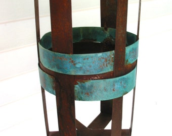 Sculptural Steel & Copper Bird Feeder No. 335 - Freestanding unique modern birdfeeder