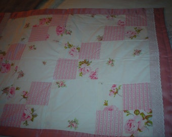 "Hand Made. 1 of a kind pink roses white eyelet quilt blanket patchwork 27""by 37"""
