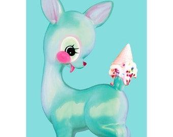 deer print pink fawn ice cream 8 x 12 DEERLICIOUS