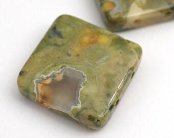 Flat square 2 hole rhyolite beads, green white semiprecious stone 20mm, 2 pcs