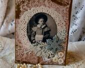 Christmas card,handmade card,collage card,vintage image card