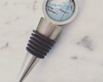 Kiawah Island Map Wine Stopper - Vintage Map Bottle Stopper - Custom Handmade - Destination Wedding - Wine Cork - South Carolina - Beach