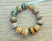 Frosty silvers - SECONDS - Lampwork beads by Loupiac